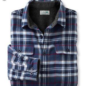 Men's Fleece Lined Flannel Shirt, LL Bean